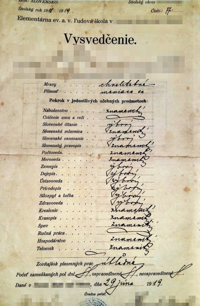 Vysvedčenie zo slovenskej Elementárnej školy z 29. júna 1919.